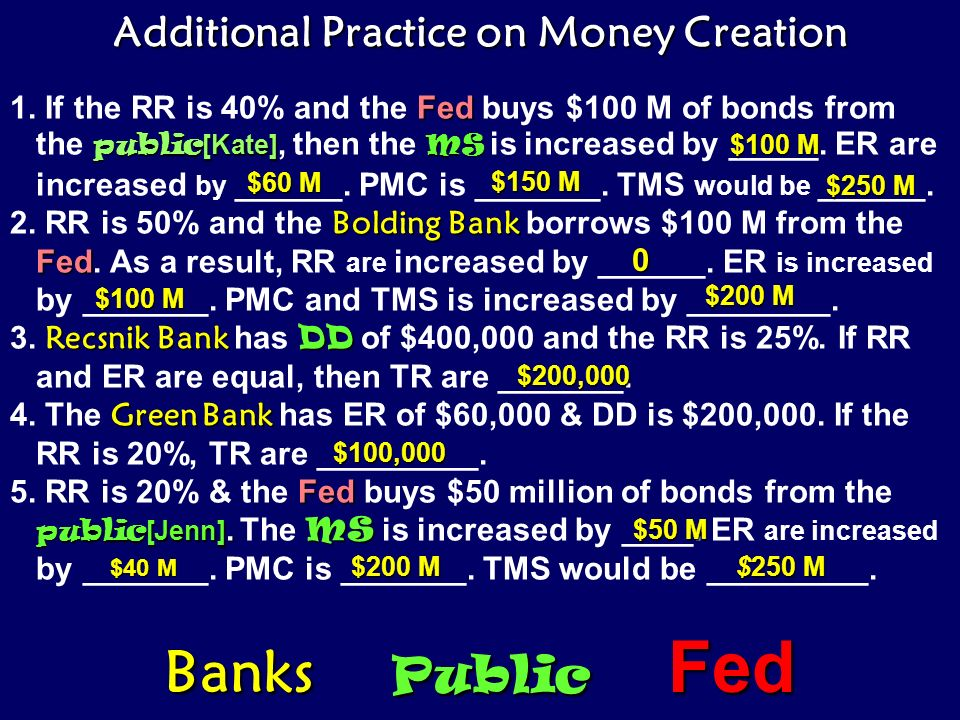 Additional Practice on Money Creation
