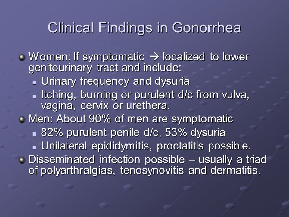 Clinical Findings in Gonorrhea