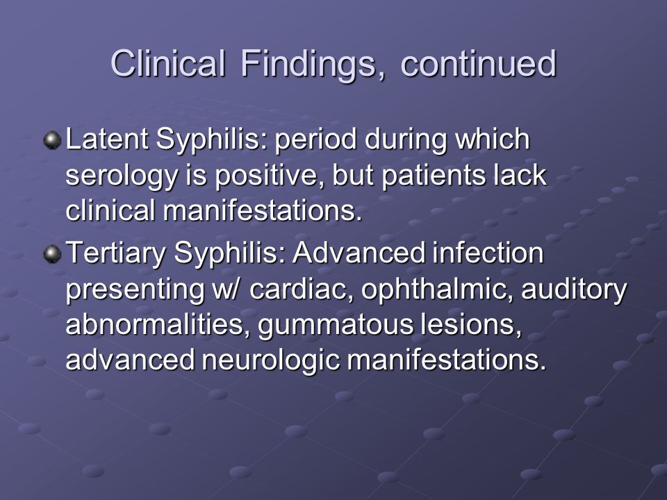 Clinical Findings, continued