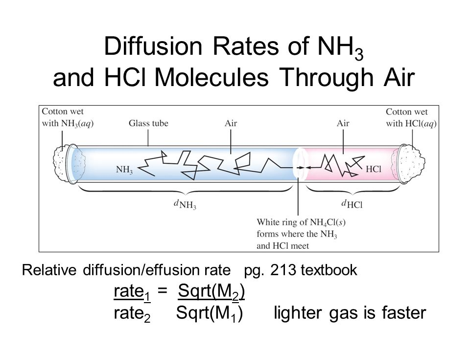 Diffusion Rates of NH3 and HCl Molecules Through Air
