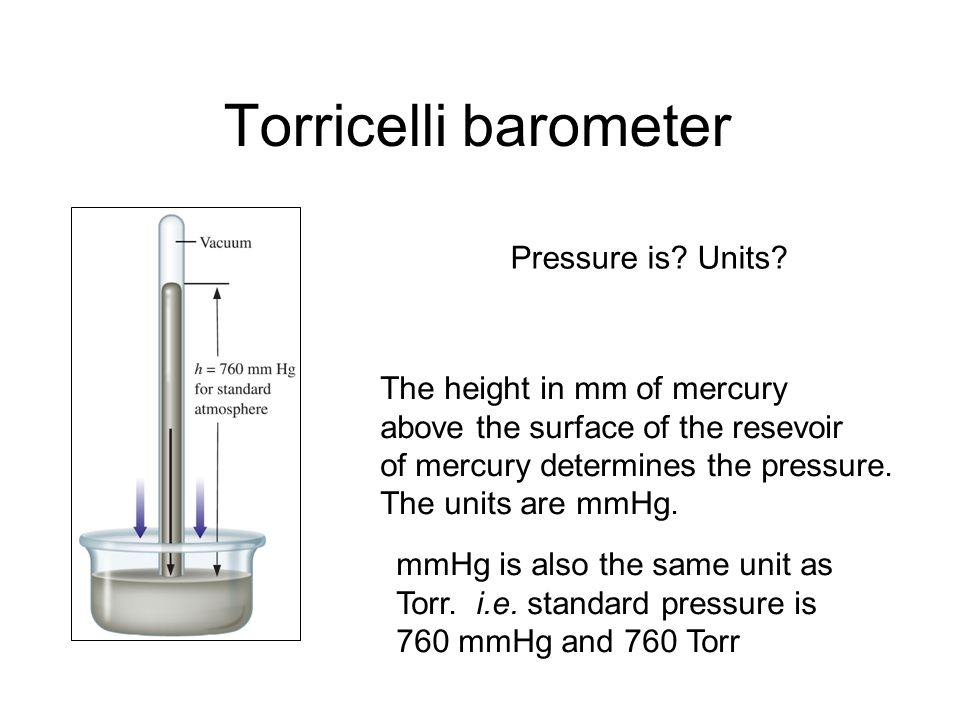 Torricelli barometer Pressure is Units The height in mm of mercury