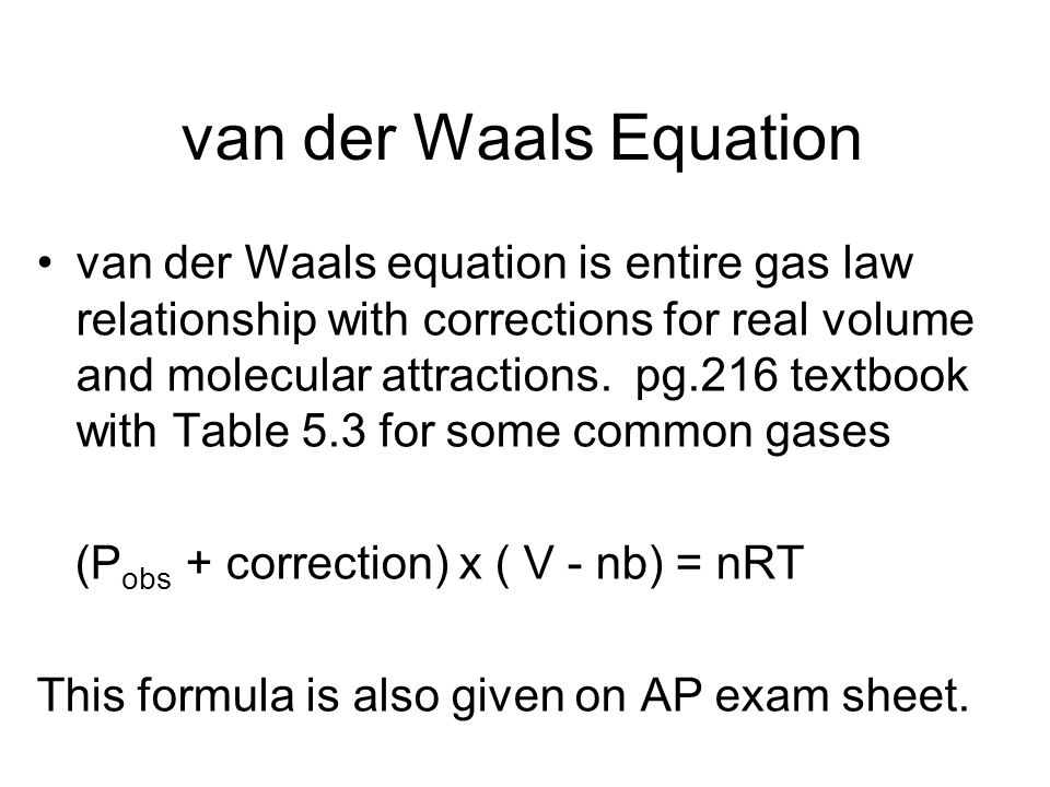 van der Waals Equation