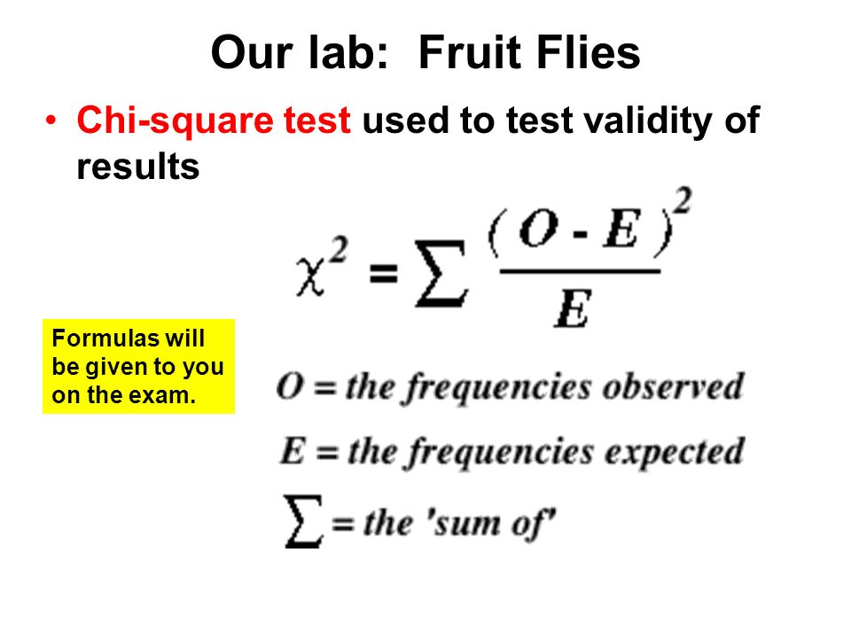 Our lab: Fruit Flies Chi-square test used to test validity of results