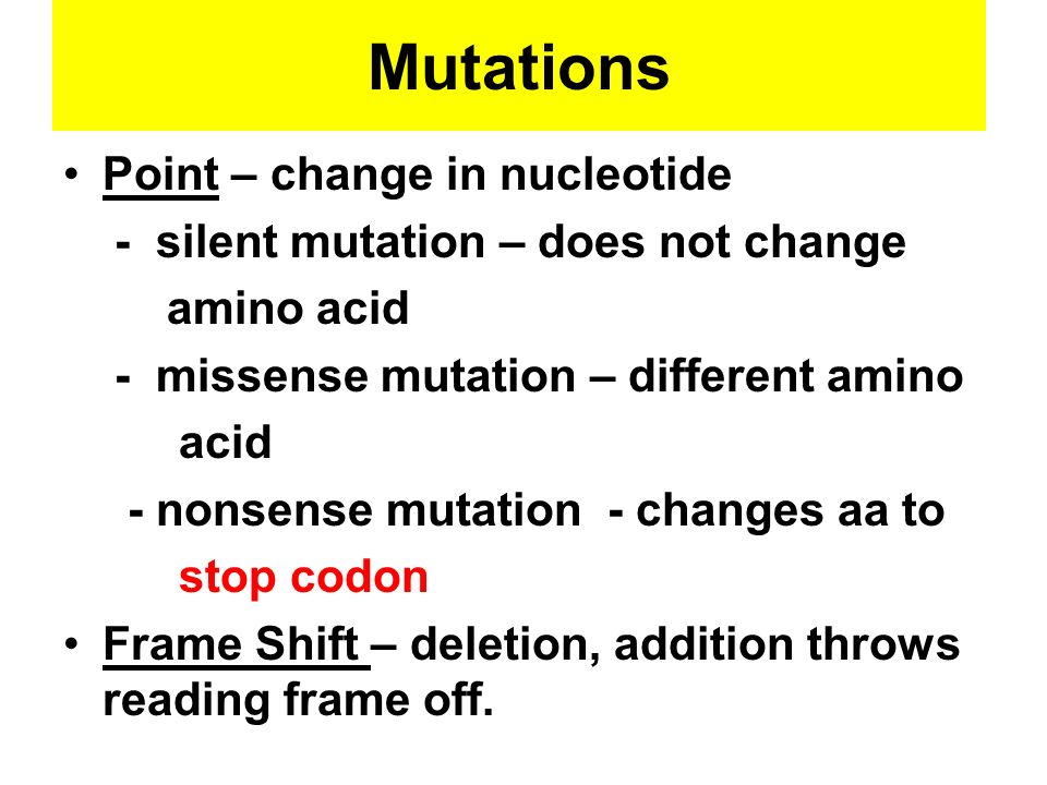 Mutations Point – change in nucleotide