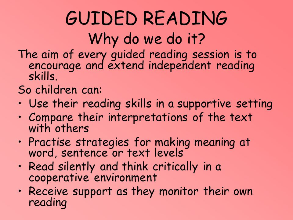 GUIDED READING Why do we do it