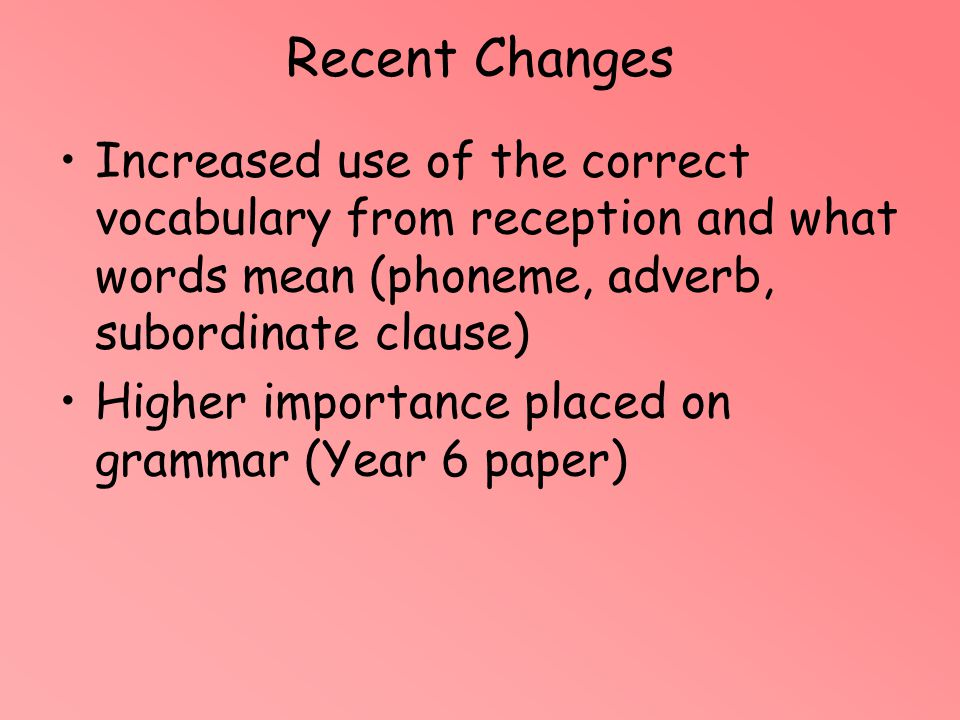 Recent Changes Increased use of the correct vocabulary from reception and what words mean (phoneme, adverb, subordinate clause)