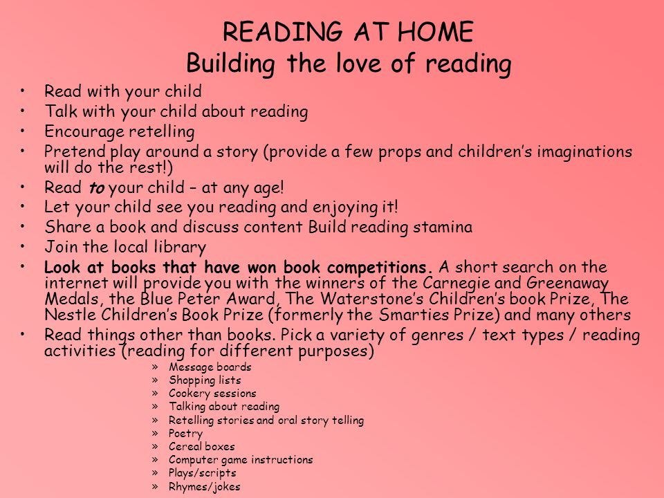 READING AT HOME Building the love of reading