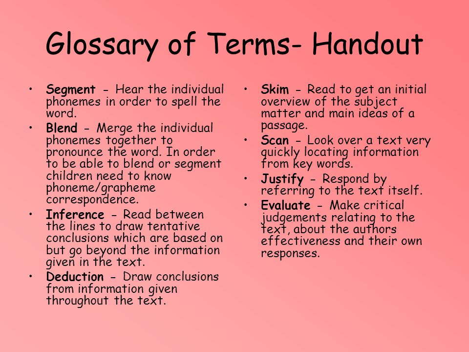 Glossary of Terms- Handout