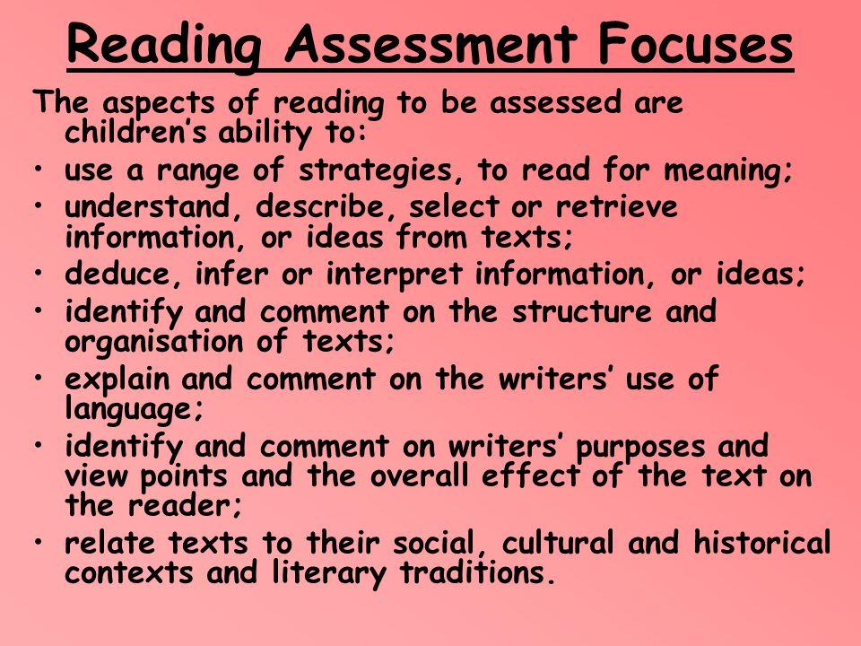 Reading Assessment Focuses