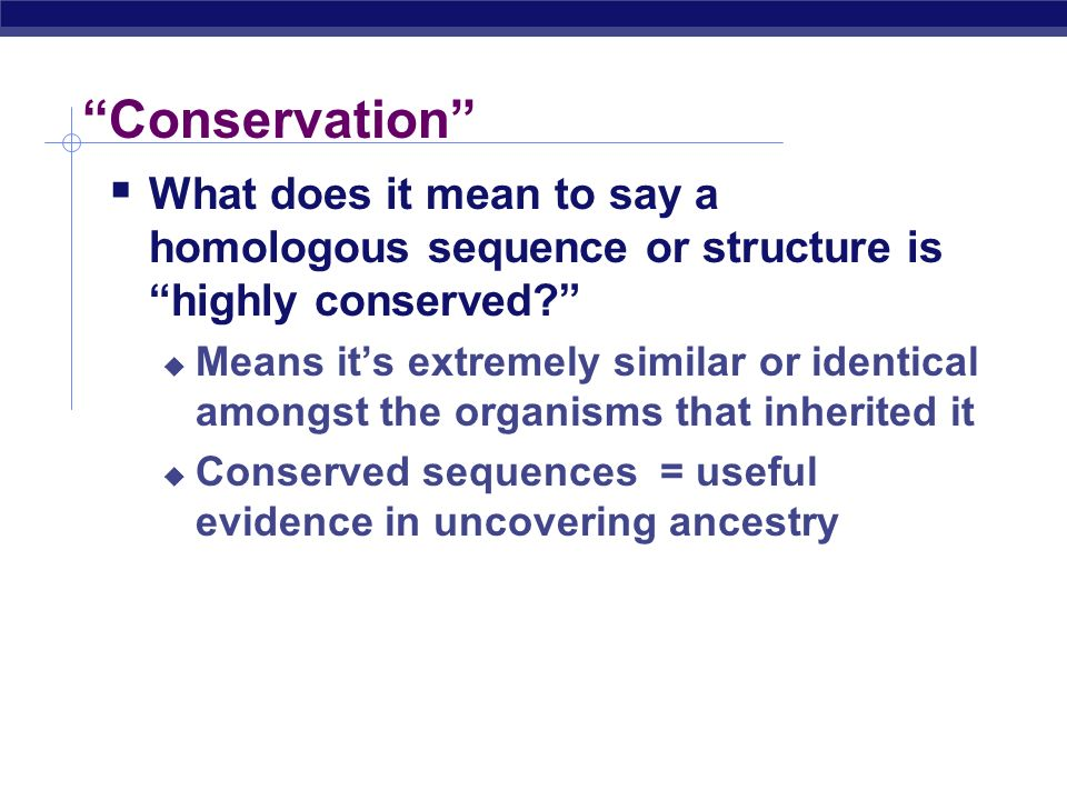 Conservation What does it mean to say a homologous sequence or structure is highly conserved