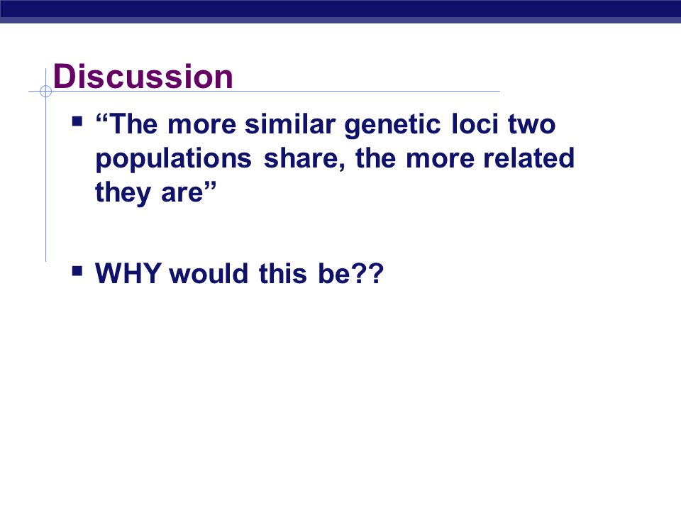 Discussion The more similar genetic loci two populations share, the more related they are WHY would this be