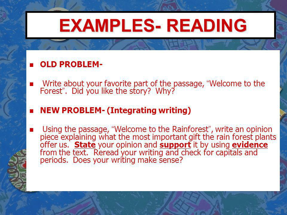 EXAMPLES- READING OLD PROBLEM-