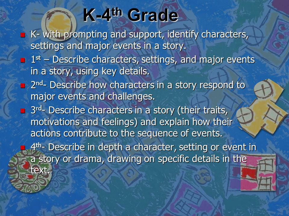 K-4th Grade K- with prompting and support, identify characters, settings and major events in a story.