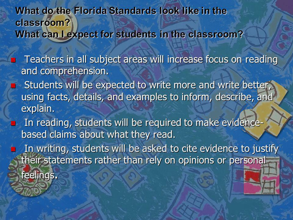 What do the Florida Standards look like in the classroom