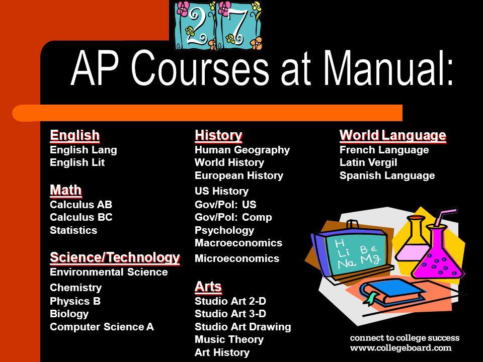 AP Courses at Manual: English History World Language Math US History