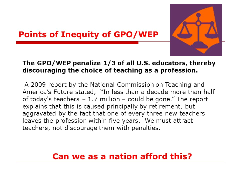 Points of Inequity of GPO/WEP