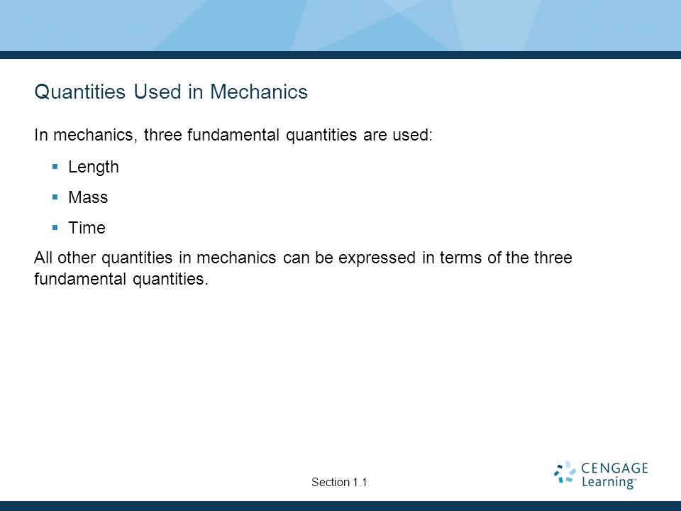Quantities Used in Mechanics
