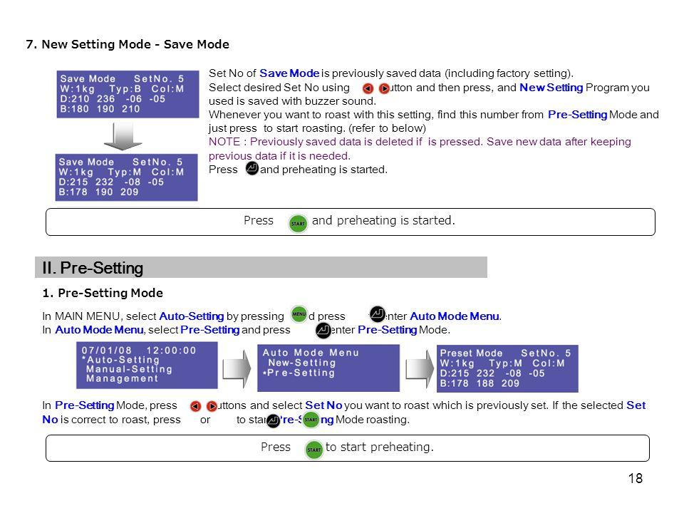 II. Pre-Setting 7. New Setting Mode - Save Mode