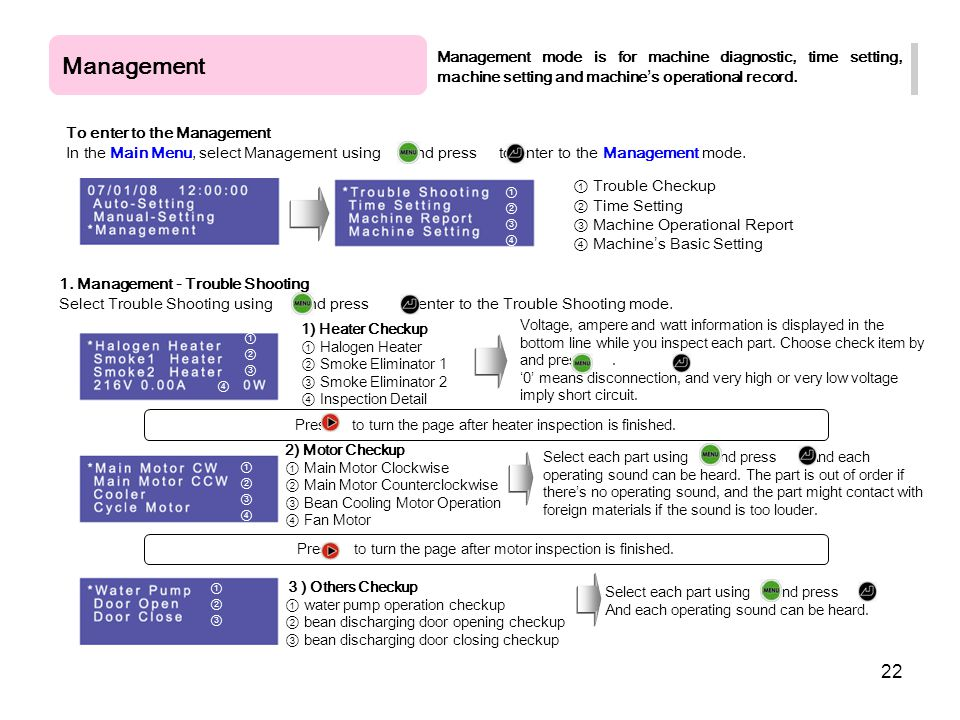 Management Management mode is for machine diagnostic, time setting, machine setting and machine's operational record.