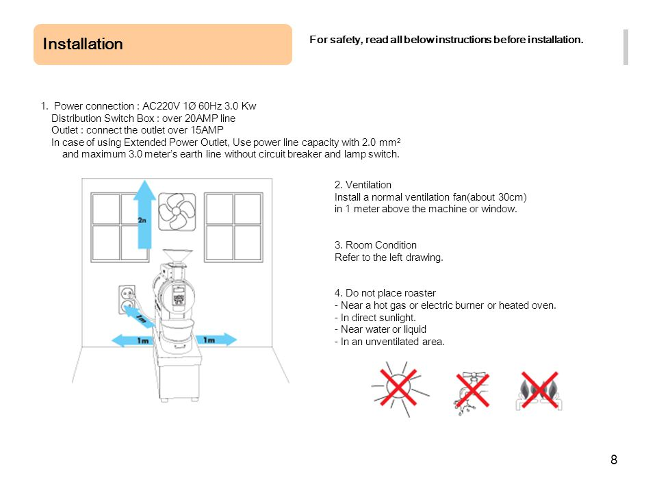 Installation For safety, read all below instructions before installation. 1. Power connection : AC220V 1Ø 60Hz 3.0 Kw.