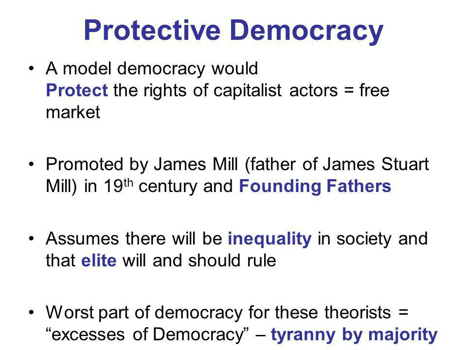 Protective Democracy A model democracy would Protect the rights of capitalist actors = free market.