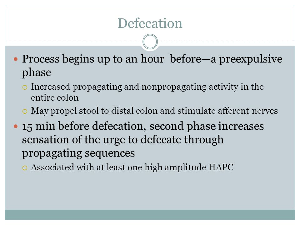 Defecation Process begins up to an hour before—a preexpulsive phase