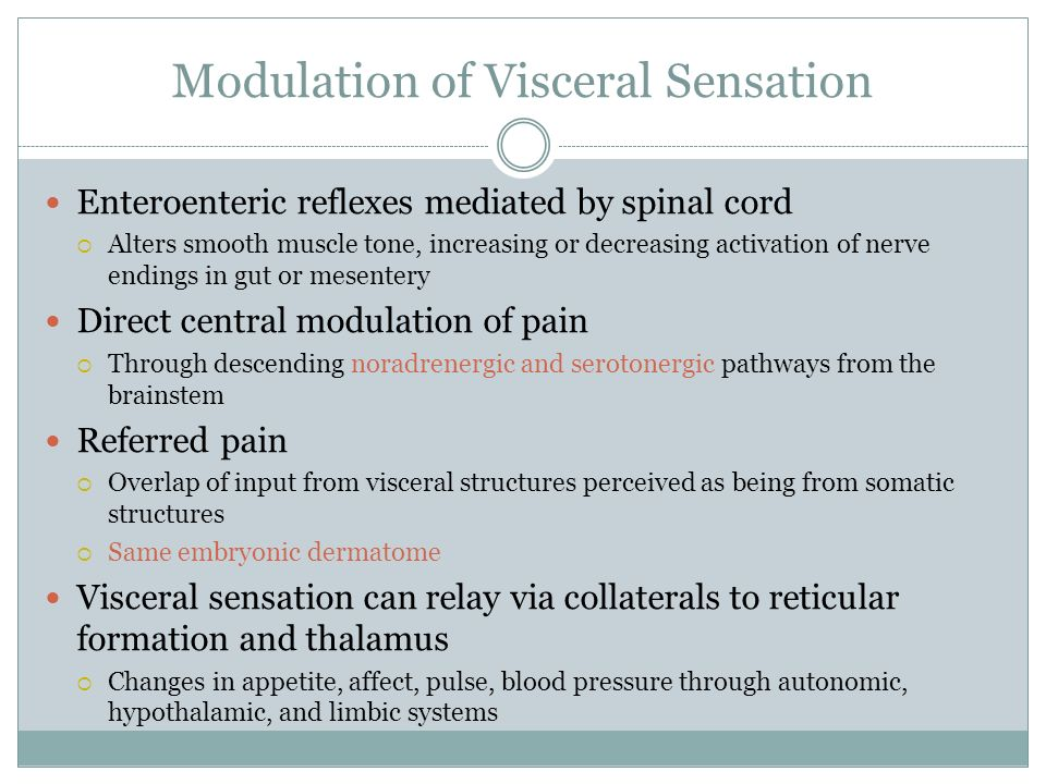 Modulation of Visceral Sensation