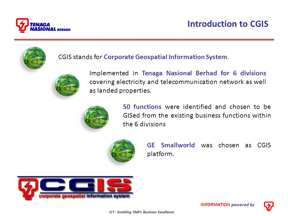 Introduction to CGIS CGIS stands for Corporate Geospatial Information System.
