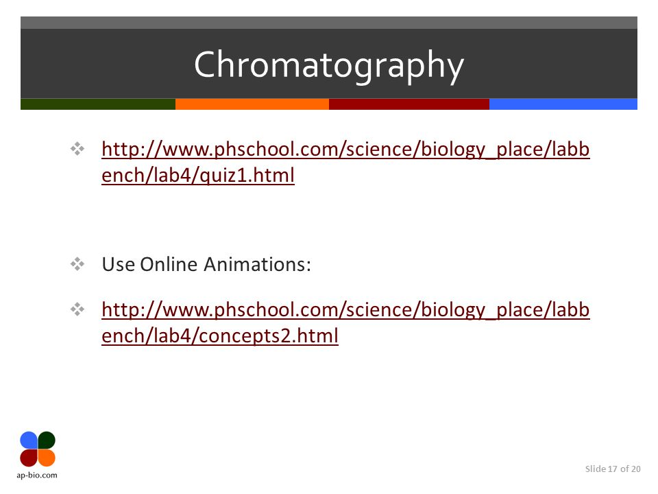 Chromatographyhttp://www.phschool.com/science/biology_place/labb ench/lab4/quiz1.html. Use Online Animations: