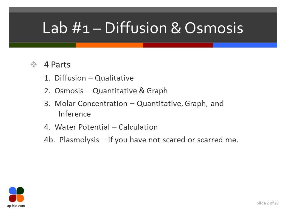 Lab #1 – Diffusion & Osmosis