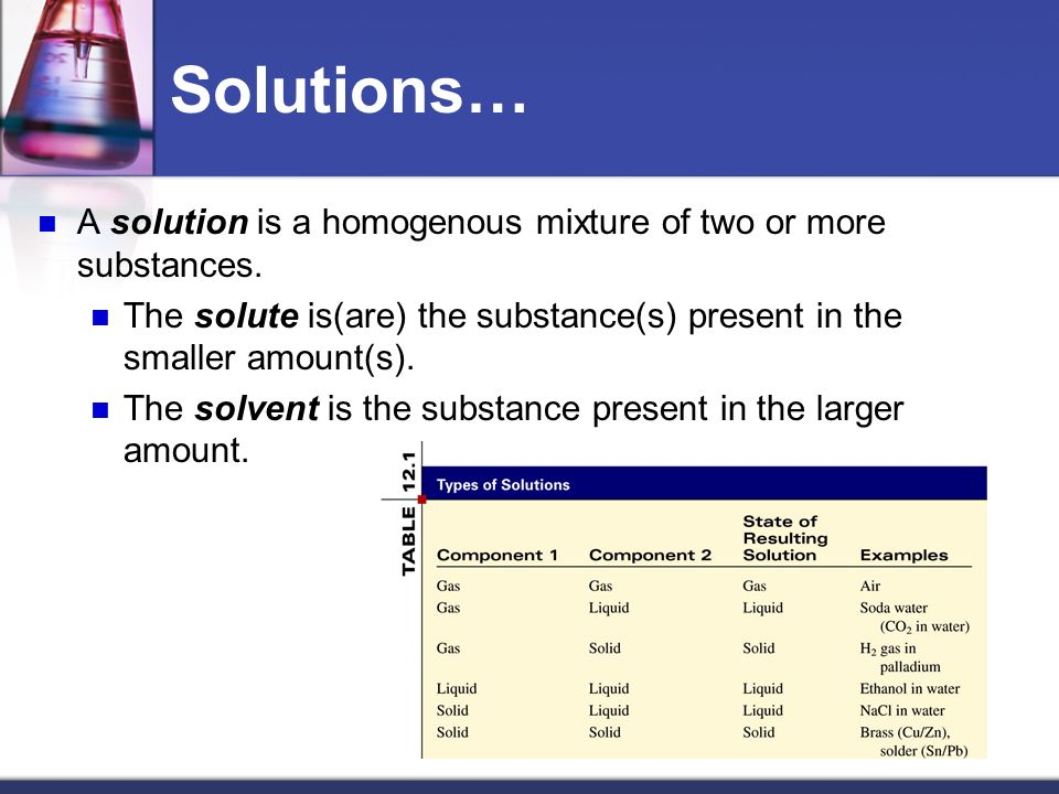 Solutions… A solution is a homogenous mixture of two or more substances. The solute is(are) the substance(s) present in the smaller amount(s).