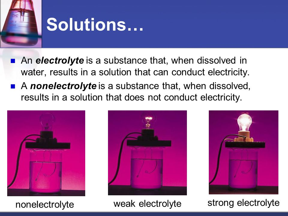 Solutions… An electrolyte is a substance that, when dissolved in water, results in a solution that can conduct electricity.