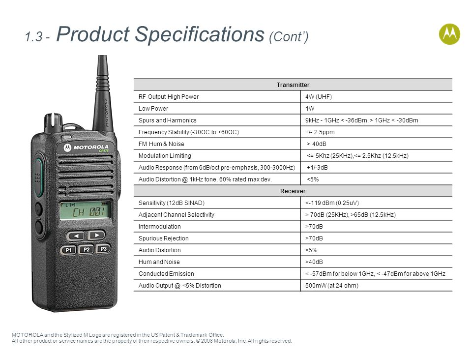 1.3 - Product Specifications (Cont')