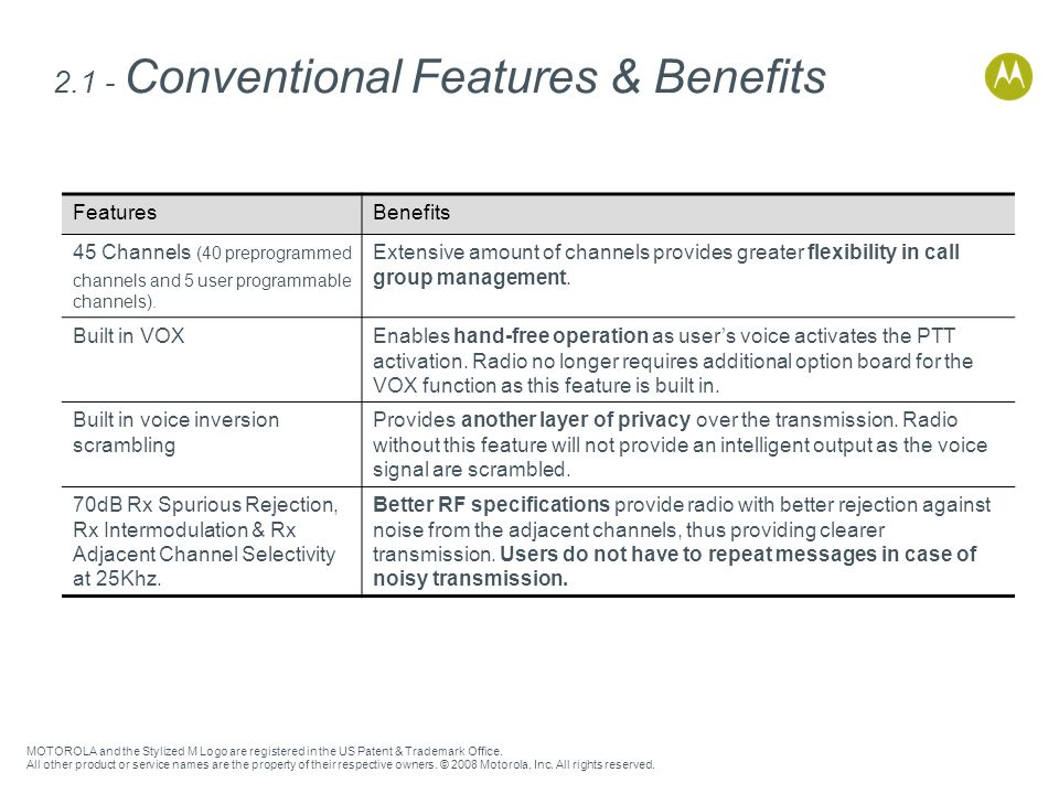2.1 - Conventional Features & Benefits