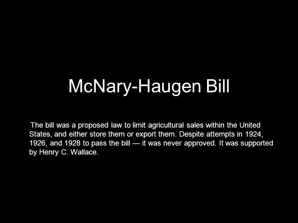 McNary-Haugen Bill