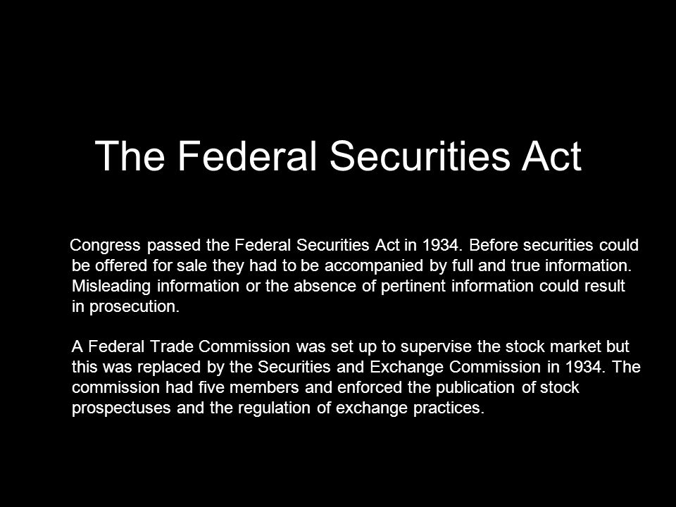 The Federal Securities Act