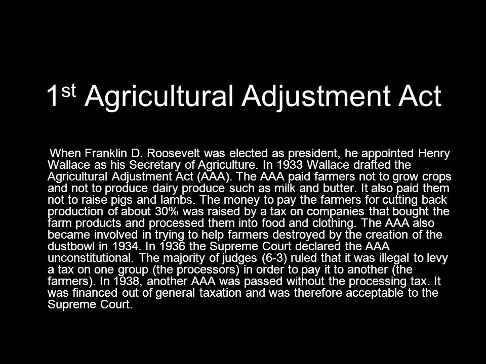 1st Agricultural Adjustment Act