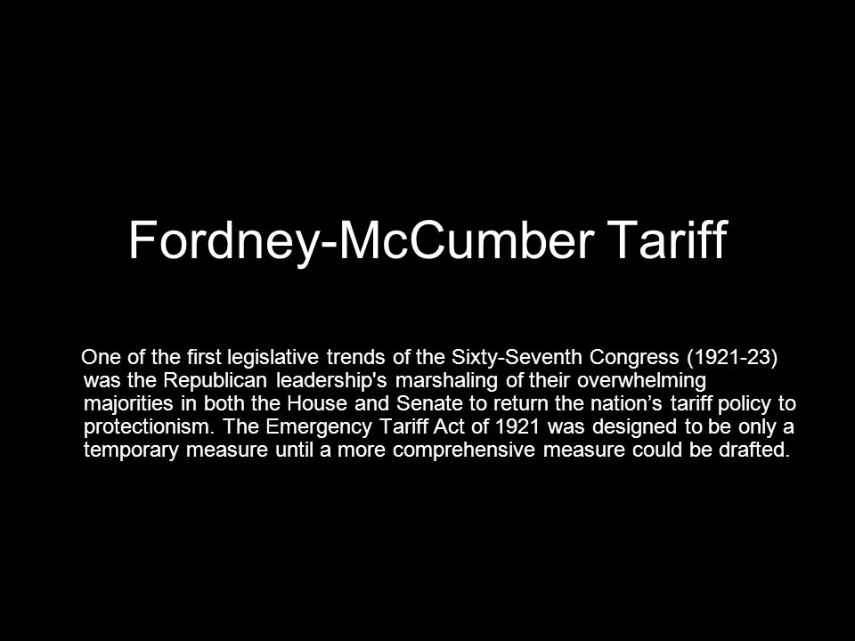 Fordney-McCumber Tariff