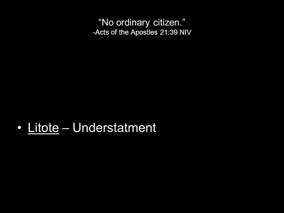 No ordinary citizen. -Acts of the Apostles 21:39 NIV