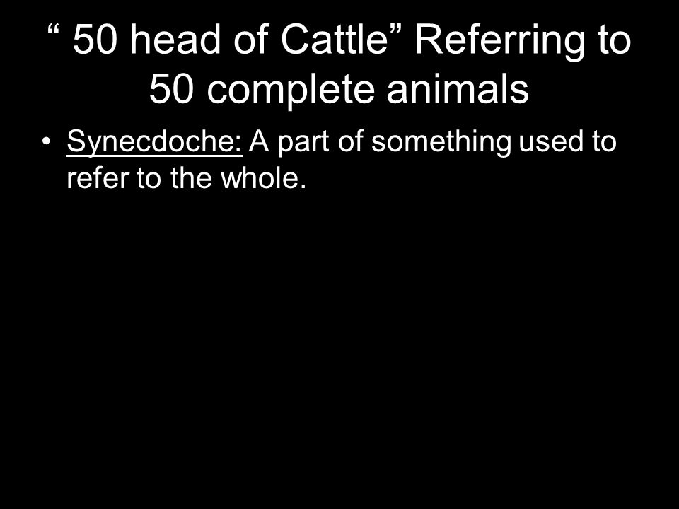 50 head of Cattle Referring to 50 complete animals