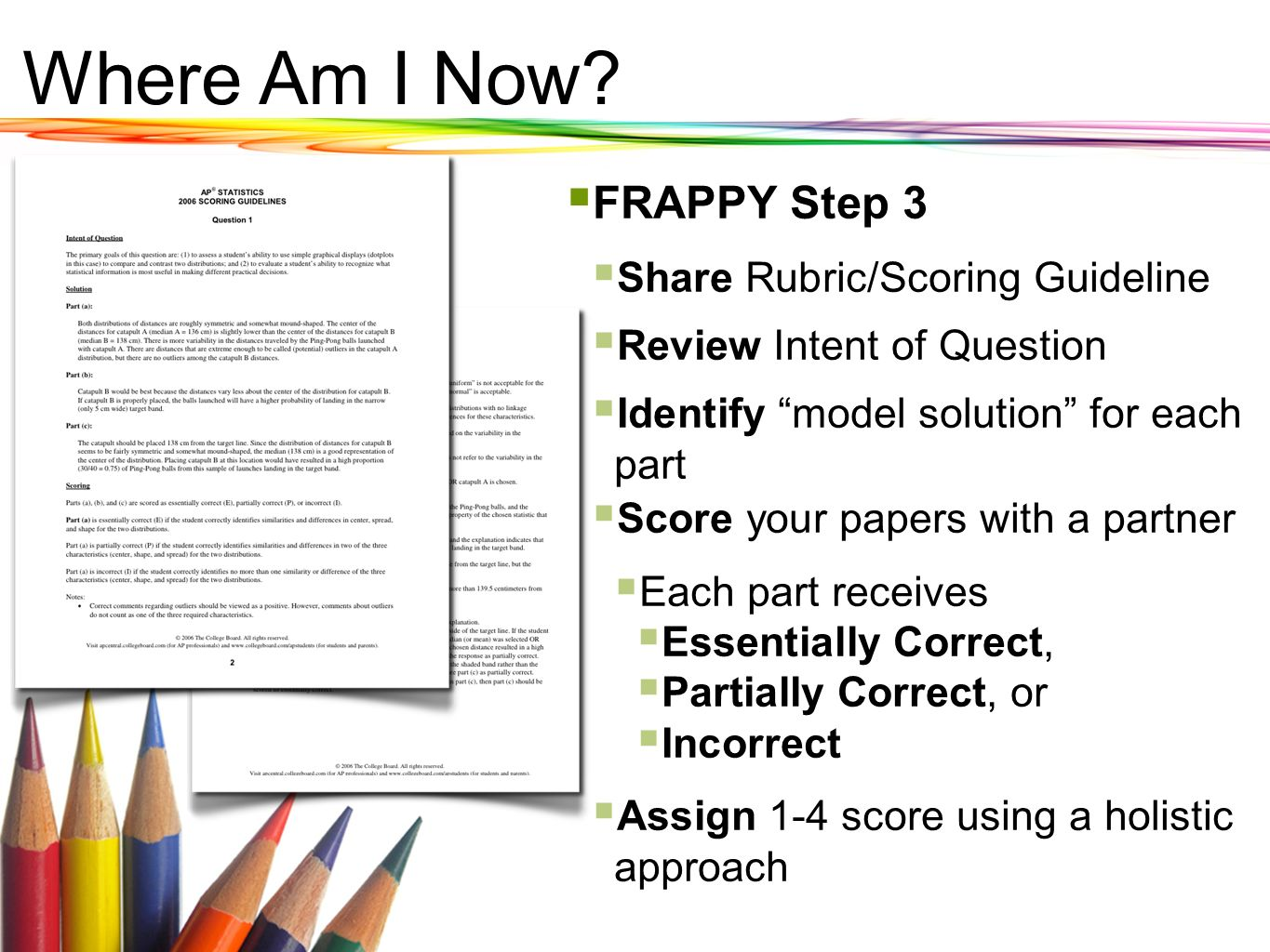 Where Am I Now FRAPPY Step 3 Share Rubric/Scoring Guideline