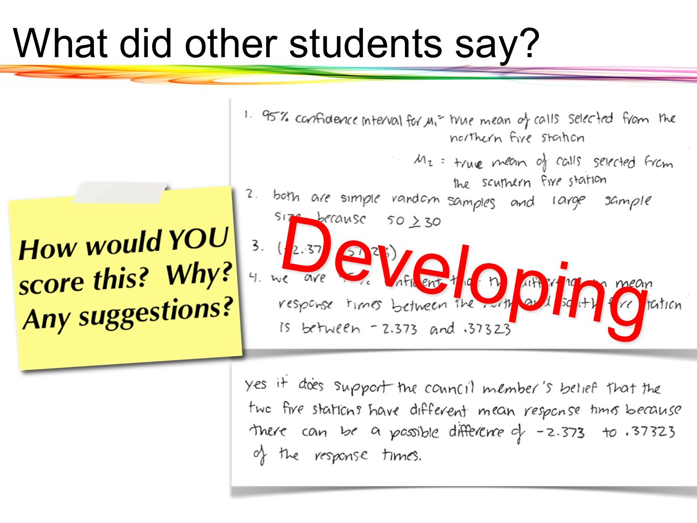 Developing What did other students say