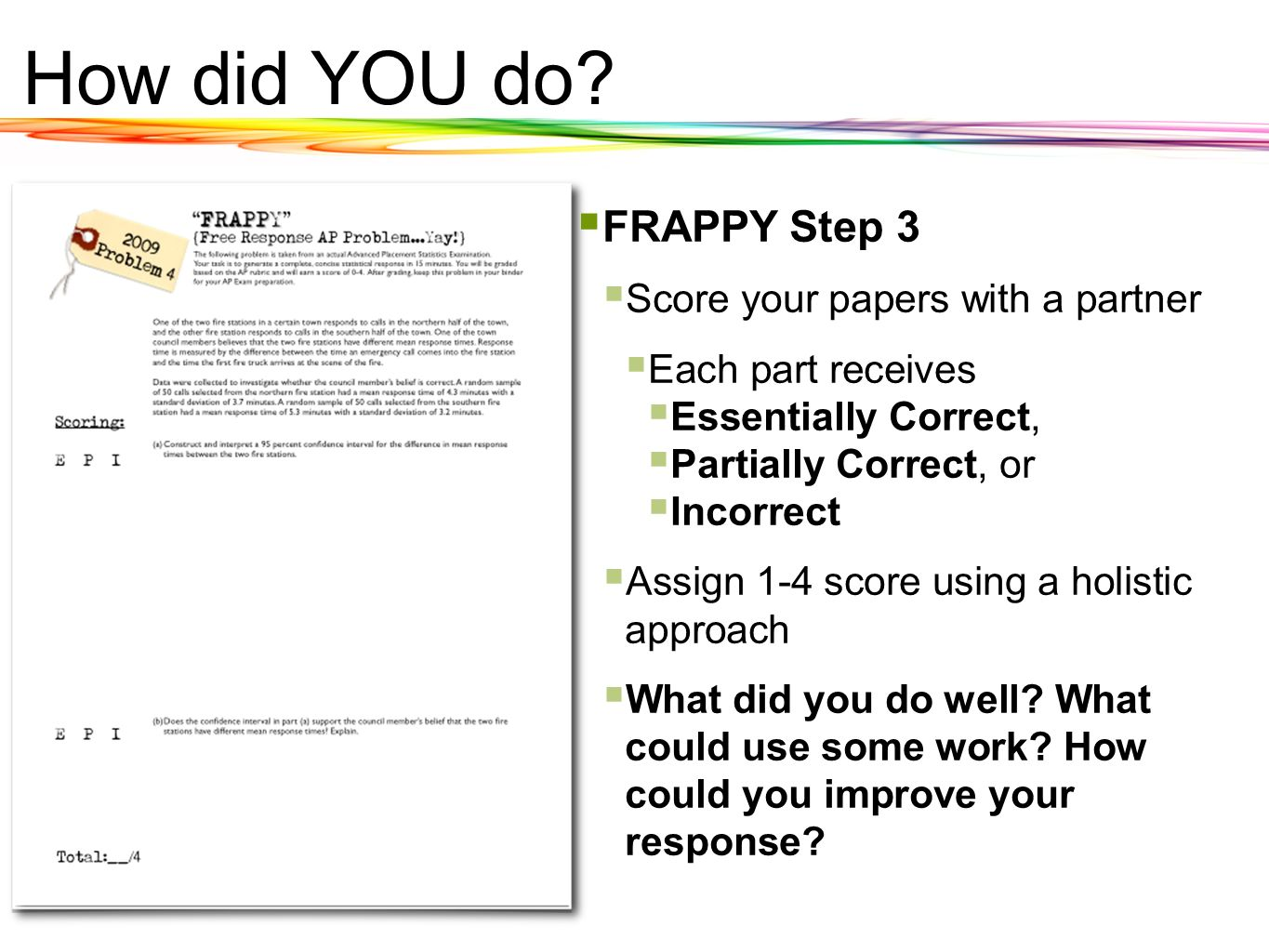 How did YOU do FRAPPY Step 3 Score your papers with a partner