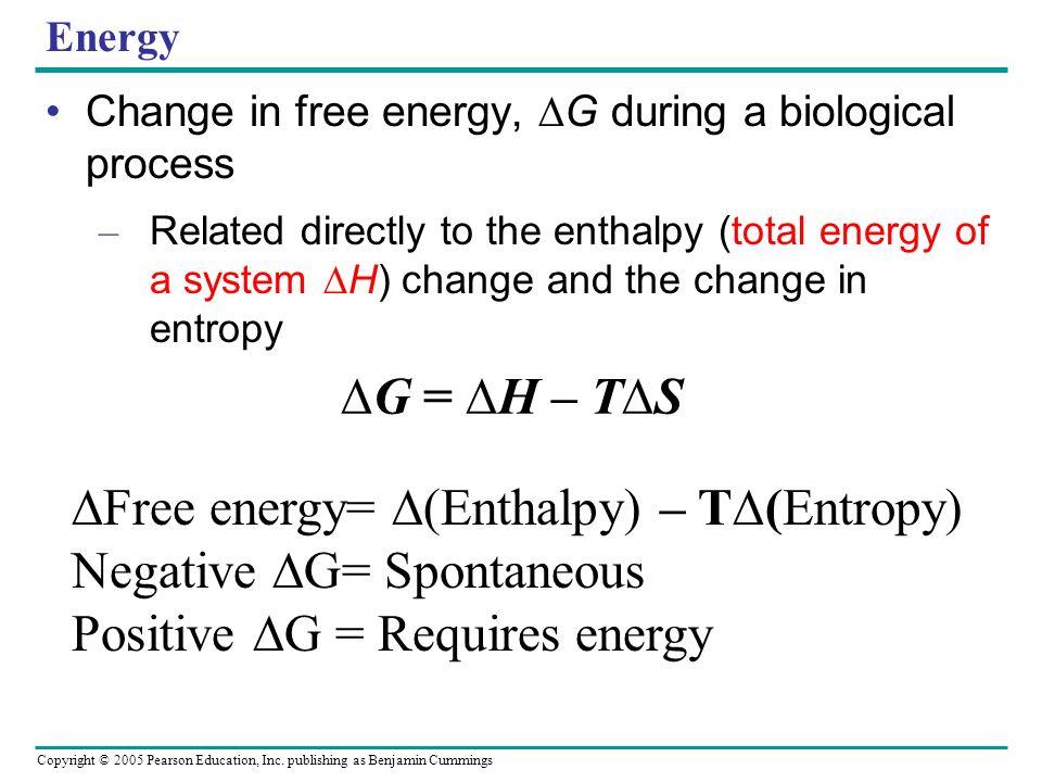 ∆Free energy= ∆(Enthalpy) – T∆(Entropy) Negative ∆G= Spontaneous