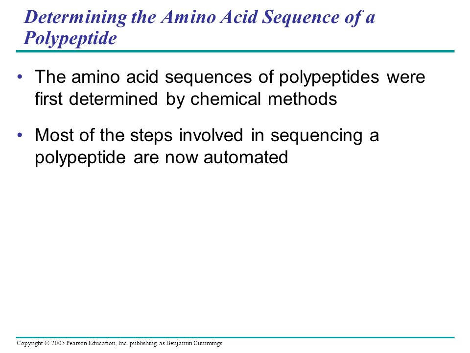 Determining the Amino Acid Sequence of a Polypeptide