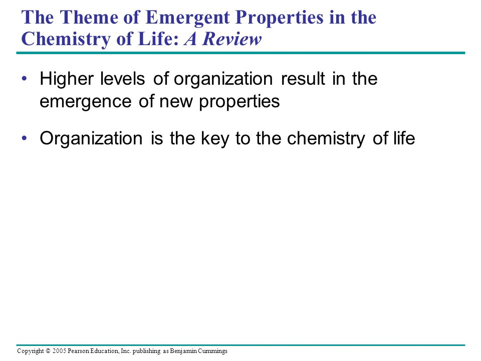 The Theme of Emergent Properties in the Chemistry of Life: A Review