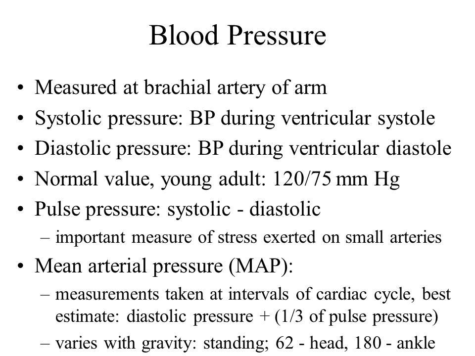 Blood Pressure Measured at brachial artery of arm