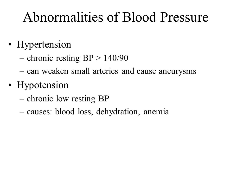 Abnormalities of Blood Pressure