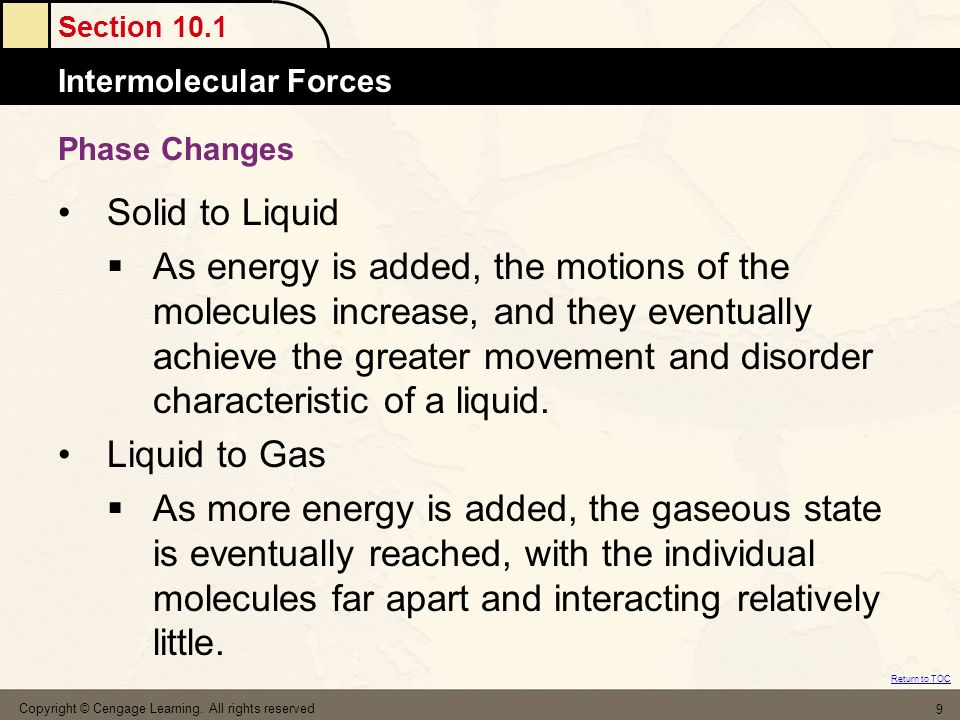 Phase Changes Solid to Liquid.