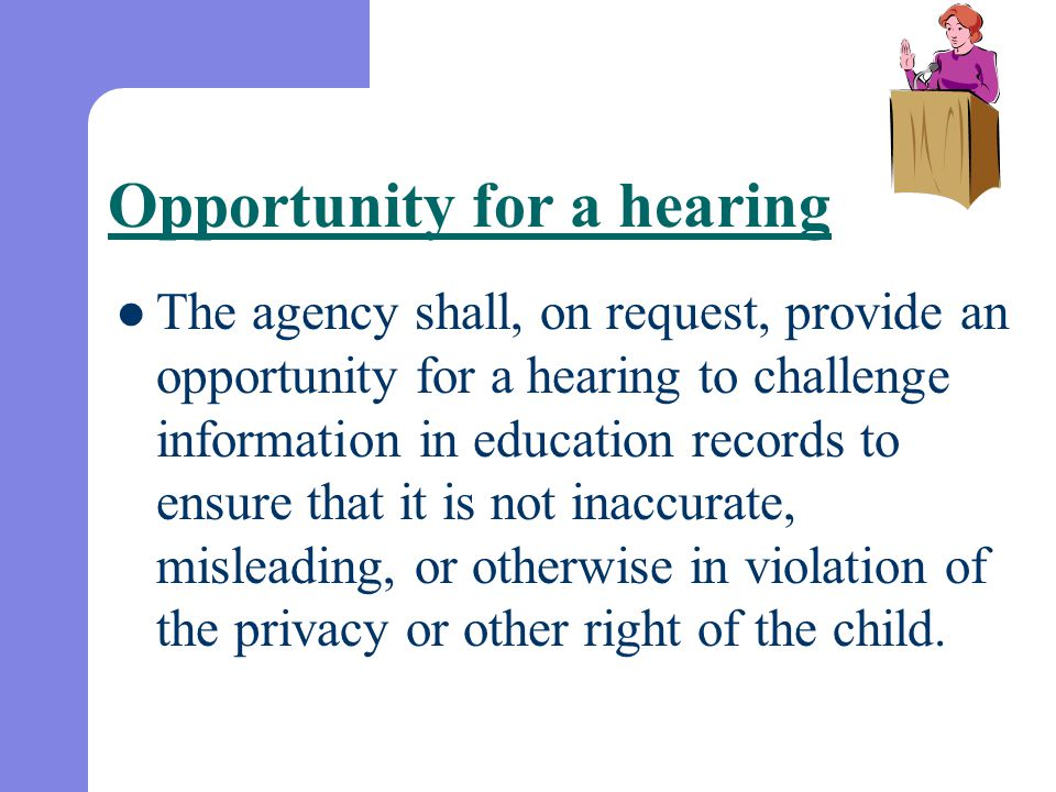 Opportunity for a hearing